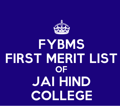 FYBMS Cutoff 2015 First Merit List of Jai Hind College