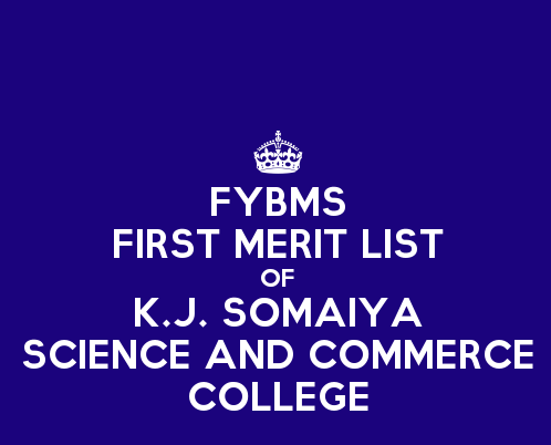 FYBMS Cutoff 2015 First Merit List of K.J. Somaiya College of Science and Commerce
