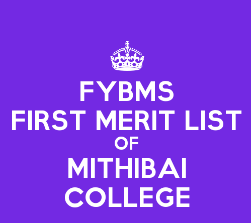 FYBMS Cutoff 2015 First Merit List of Mithibai College