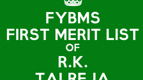 FYBMS Cutoff 2015 First Merit List of R.K. Talreja College
