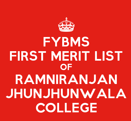 FYBMS Cutoff 2015 First Merit List of Ramniranjan Jhunjhunwala College