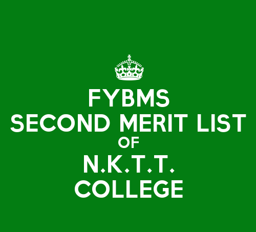 FYBMS Cutoff 2015 Second Merit List of N.K.T. Thanawala College