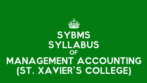 St. Xavier's College SYBMS Sem 3 Syllabus: Management Accounting