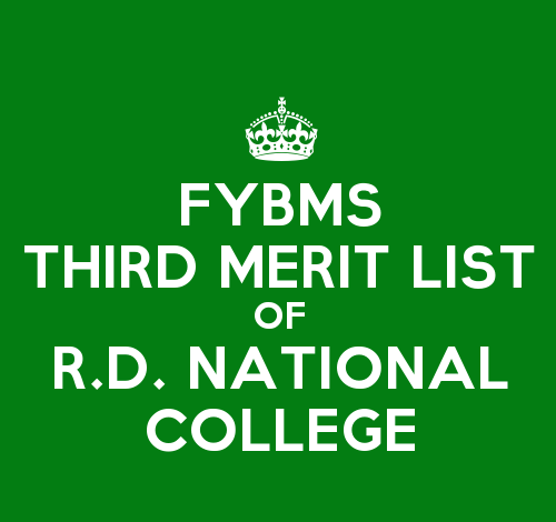 FYBMS Cutoff 2015 Third Merit List of R.D. National College