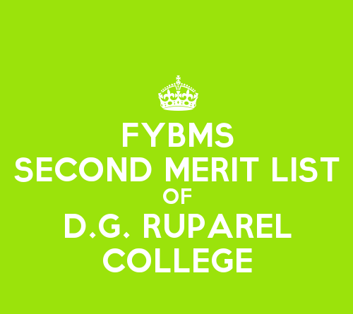 FYBMS Cutoff 2015 Second Merit List of D.G. Ruparel College