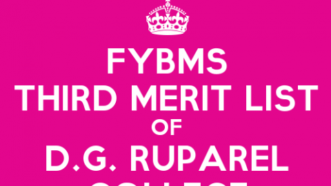 FYBMS Cutoff 2015 Third Merit List of D.G. Ruparel College