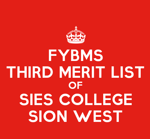 FYBMS Cutoff 2015 Third Merit List of SIES College Sion West