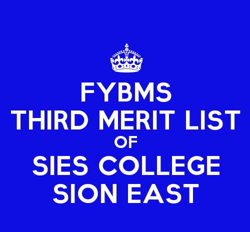 FYBMS Cutoff 2015 Third Merit List of SIES College Sion East