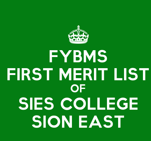 FYBMS Cutoff 2015 First Merit List of SIES College Sion East