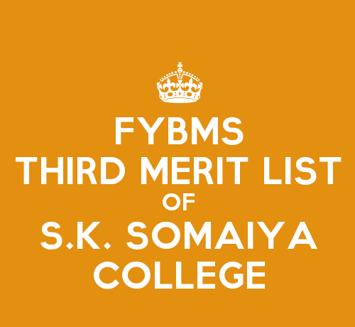 FYBMS Cutoff 2015 Third Merit List of S.K. Somaiya College