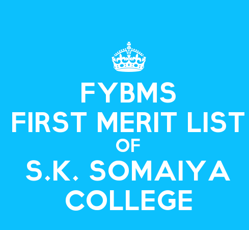 FYBMS Cutoff 2015 First Merit List of S.K. Somaiya Degree College