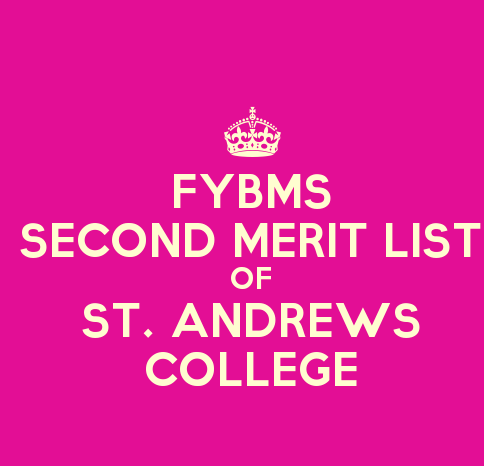 FYBMS Cutoff 2015 Second Merit List of St. Andrew's College