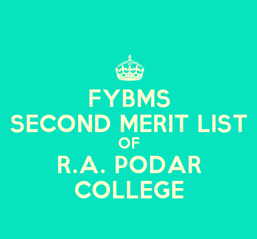 FYBMS Cutoff 2015 Second Merit List of R.A. Podar College