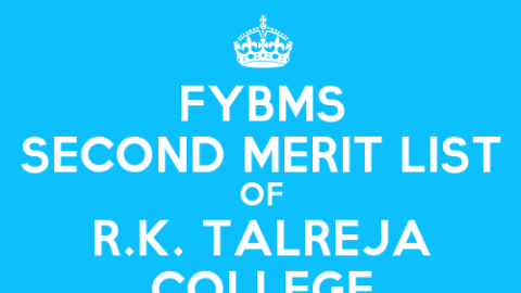 FYBMS Cutoff 2015 Second Merit List of R.K. Talreja College