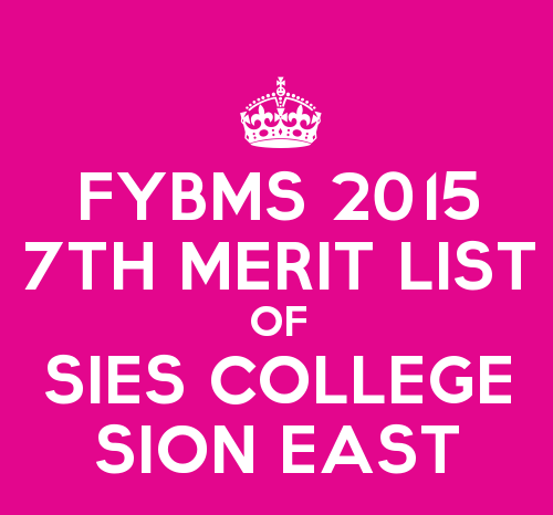 FYBMS Cutoff 2015 Seventh Merit List of SIES College Sion East