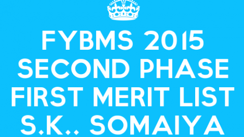FYBMS Cutoff 2015 Second Phase First Merit List of S.K. Somaiya College