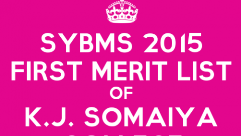 SYBMS Cutoff 2015 First Merit List of K.J. Somaiya College of Science and Commerce