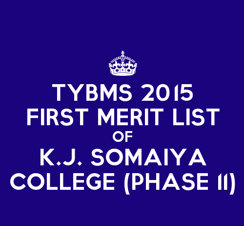 TYBMS Cutoff 2015 Second Phase First Merit List of K.J. Somaiya College of Science and Commerce
