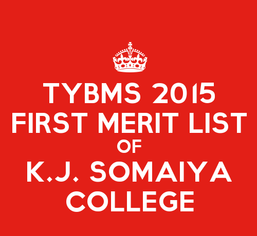 TYBMS Cutoff 2015 First Merit List of K.J. Somaiya College of Science and Commerce