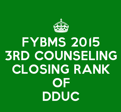 FYBMS Third Counselling Closing Rank 2015 of Deen Dayal Upadhyaya College (DDU)