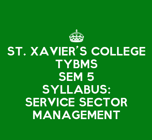 St. Xavier's College TYBMS Sem 5 Syllabus: Service Sector Management