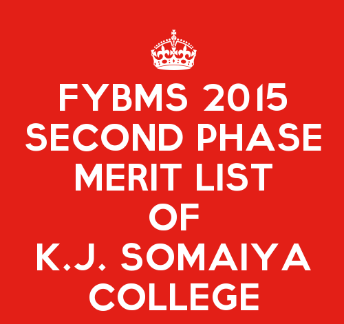 FYBMS Cutoff 2015 Second Phase First Merit List of K.J. Somaiya College of Science and Commerce