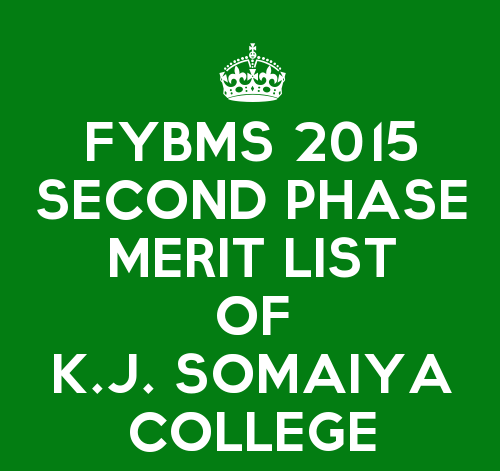 FYBMS Cutoff 2015 Second Phase Second Merit List of K.J. Somaiya College of Science and Commerce
