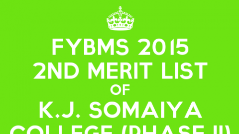 FYBMS Cutoff 2015 Second Phase Second Merit List of K.J. Somaiya College of Arts, Commerce