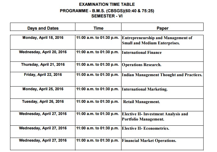 TYBMS SEM 6 April 2016 Exam Timetable For (CBSGS) (60:40 and 75:25)