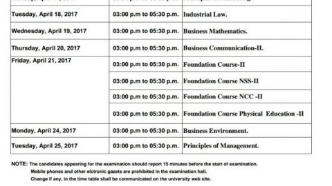 FYBMS SEMESTER II 2016 – 2017 Exam Time Table