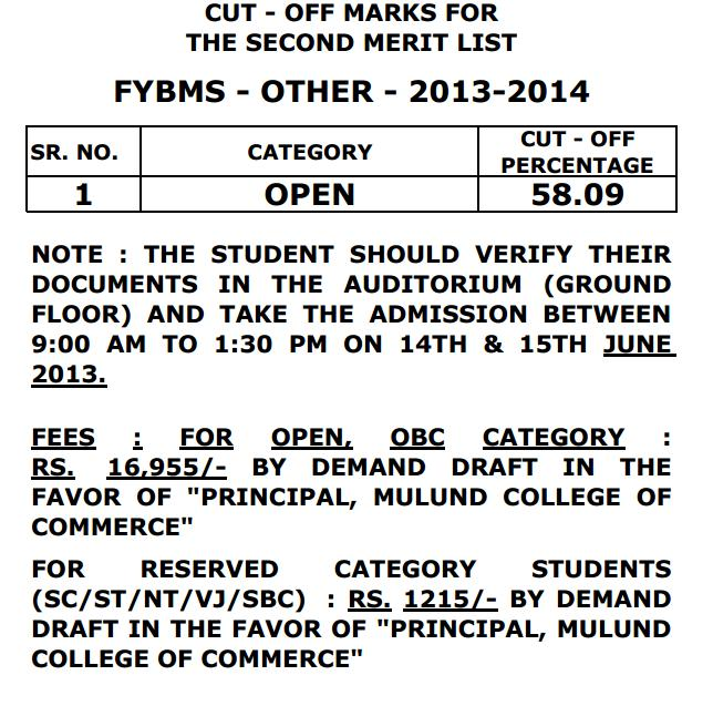 Second merit list of MCC FYBMS (Other Category) 2013