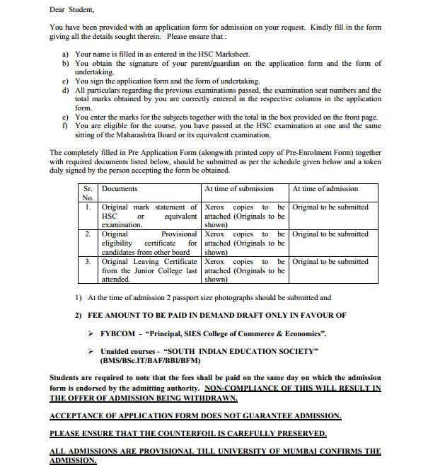 Guidelines to students seeking FYBMS admissions in SIES College, Sion East