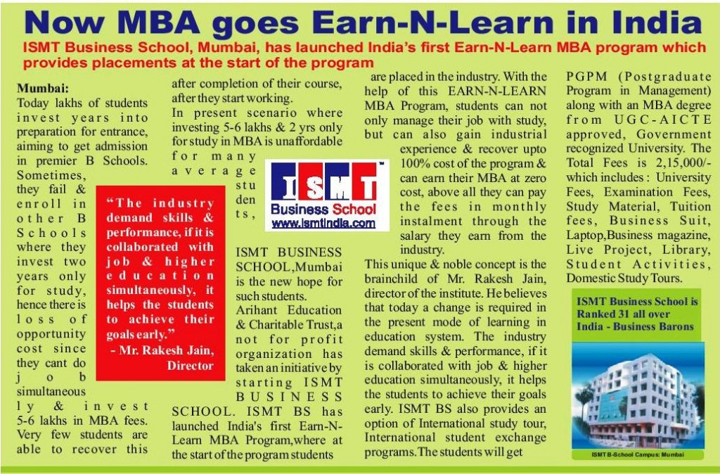 Earn and Learn MBA Program @ ISMT Business School