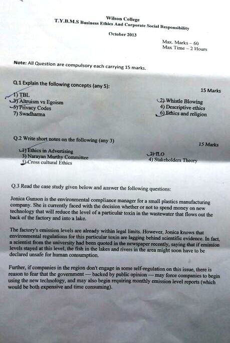 Wilson College TYBMS Sem 5 Prelims Question Papers 2013