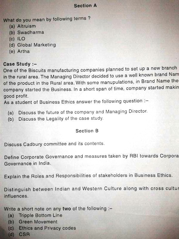 Business Ethics Important Question Paper 2013