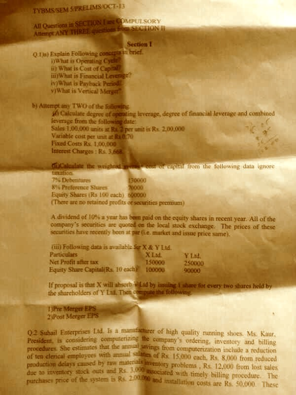 Bunts Sangha College TYBMS Sem 5 Prelims Question Papers 2013