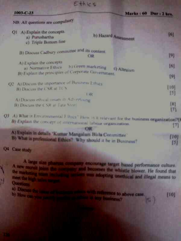 Shankar Narayan College TYBMS Sem 5 Prelims Question Papers 2013