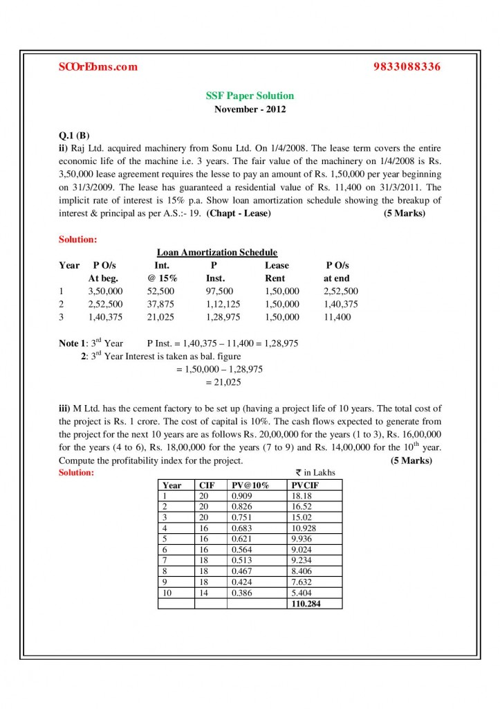 Special Studies in Finance Solved Paper - November 2012