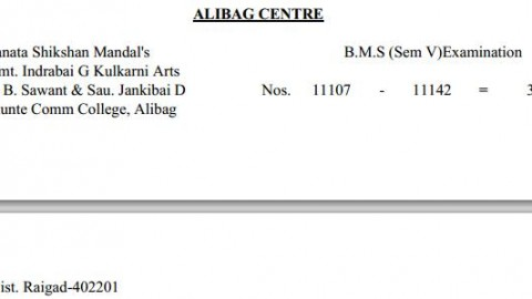 TYBMS Sem 5 Exams 2013 – Alibag Centre for Seat Nos. 11107 to 11142