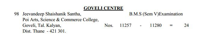 TYBMS Sem 5 Exams 2013 – Goveli Centre for Seat Nos. 11257 to 11280
