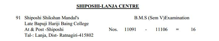 TYBMS Sem 5 Exams 2013 – Shiposhi-Lanja Centre for Seat Nos. 11091 to 11106
