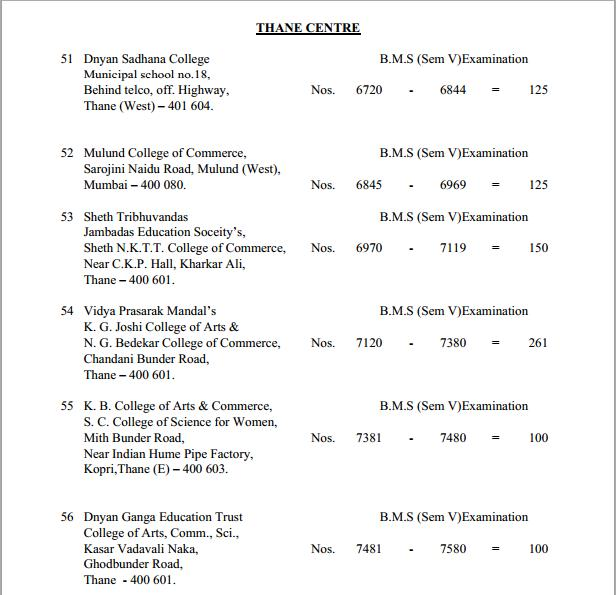 TYBMS Sem 5 Exams 2013 – Thane Centre for Seat Nos. 6720 to 7580