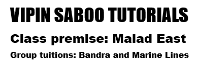 Vipin Saboo Tutorials For TYBMS Sem 5 and Sem 6