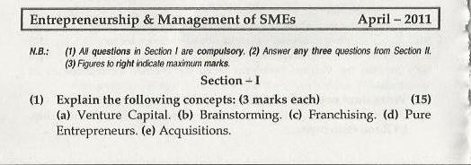 Entrepreneurship Management Mumbai University April 2011 Question Paper