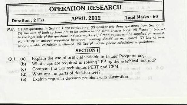Operations Research Mumbai University April 2012 Exam Solved Paper