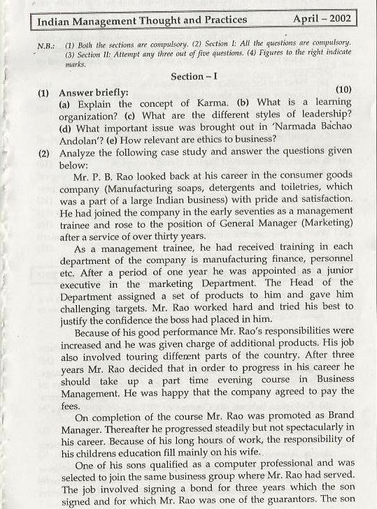 Indian Management Thoughts & Practices Mumbai University April 2002 Question Paper