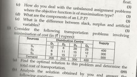 Operations Research Mumbai University April 2013 Exam Question Paper