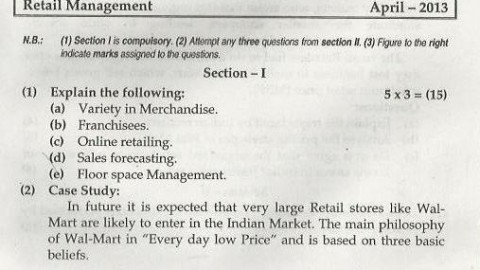 Retail Management Mumbai University April 2013 Question Paper