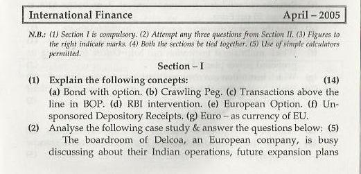 International Finance Mumbai University April 2005 Question Paper