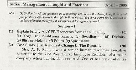Indian Management Thoughts & Practices Mumbai University April 2005 Question Paper